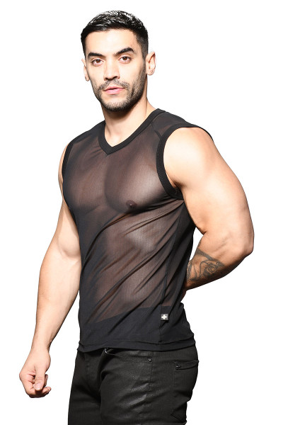 Andrew Christian Sexy Sheer Sleeveless V-Neck 2786 - Mens Sleeveless T-Shirts - Side View - Topdrawers Clothing for Men