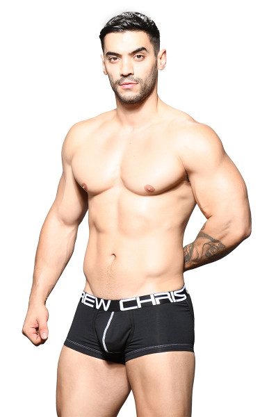 Andrew Christian FlashLift Boxer w/ Show-It 91645-BL Black - Mens Boxer Briefs - Front View - Topdrawers Underwear for Men