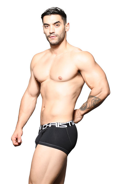 Andrew Christian FlashLift Boxer w/ Show-It 91645-BL Black - Mens Boxer Briefs - Side View - Topdrawers Underwear for Men