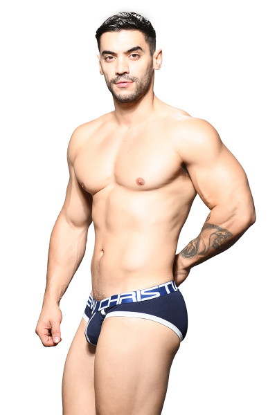 Andrew Christian Show-It Brief 91643-NV Navy Blue - Mens Briefs - Side  View - Topdrawers Underwear for Men