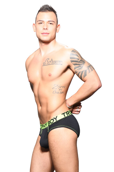 Andrew Christian Trophy Boy Brief 91646-BL Black - Mens Briefs - Side View - Topdrawers Underwear for Men
