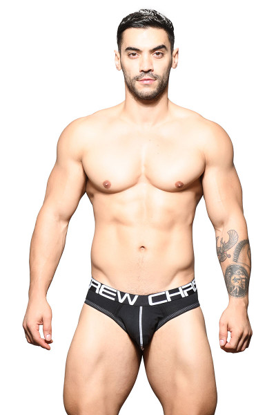 Andrew Christian Show-It Locker Room Jock 91644-BL Black - Mens Jock Briefs - Front View - Topdrawers Underwear for Men