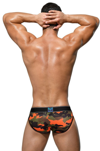 Private Structure SoHo Military Mini Brief SMUY4022-OR Orange - Mens Briefs - Rear View - Topdrawers Underwear for Men