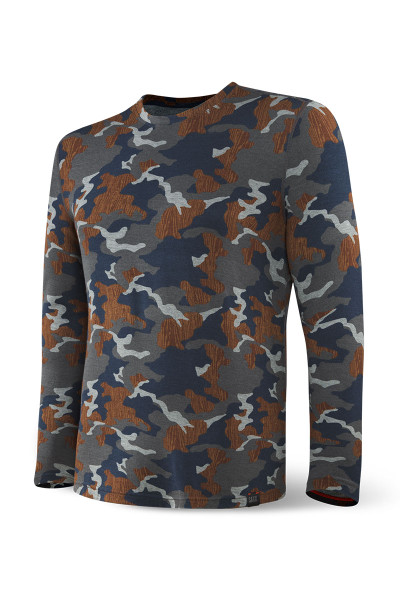 Saxx Sleepwalker Tee L/S | Navy Wood Grain Camo SXLT34-NWG - Mens Sleepwear - Front View - Topdrawers Clothing for Men
