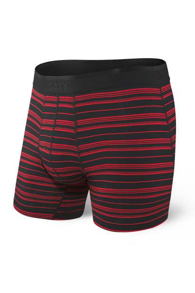 Saxx Platinum Boxer Brief w/ Fly | Black Red Tidal Stripe SXBB42F-BRT - Mens Boxer Briefs - Front View - Topdrawers Underwear for Men