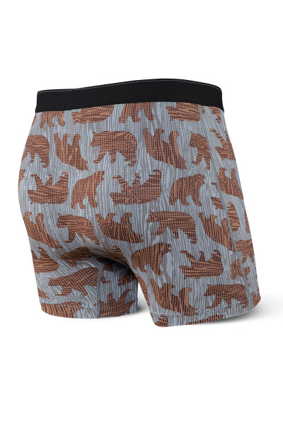 Saxx Quest Boxer Brief w/ Fly | Grey Grizzly Grain SXBB70F-GGG - Mens Boxer Briefs - Rear View - Topdrawers Underwear for Men