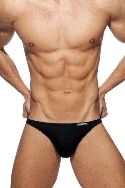 Addicted Mini Bikini ADS245-10 Black - Mens Swim Briefs - Front View - Topdrawers Swimwear for Men