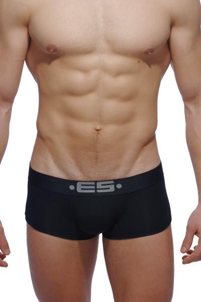 ES Collection Basic Modal Push Up Short Boxer UN116-10 Black - Mens Trunk Boxers - Front View - Topdrawers Underwear for Men