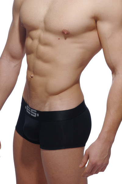 ES Collection Basic Modal Push Up Short Boxer UN116-10 Black - Mens Trunk Boxers - Side View - Topdrawers Underwear for Men