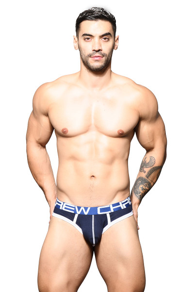 Andrew Christian Show-It Locker Room Jock 91644-NV Navy Blue - Mens Jock Briefs - Front View - Topdrawers Underwear for Men