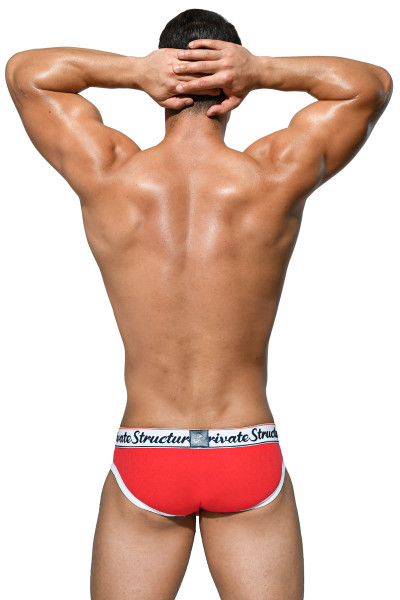 Private Structure Classic Mini Brief SCUX4069-RD Red - Mens Low Rise Briefs - Rear View - Topdrawers Underwear for Men