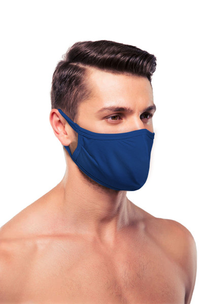 Obviously Face Mask MEA01-NV Navy Blue  - Unisex Protective Face Masks - Side View - Topdrawers Personal Protective Gear for Men