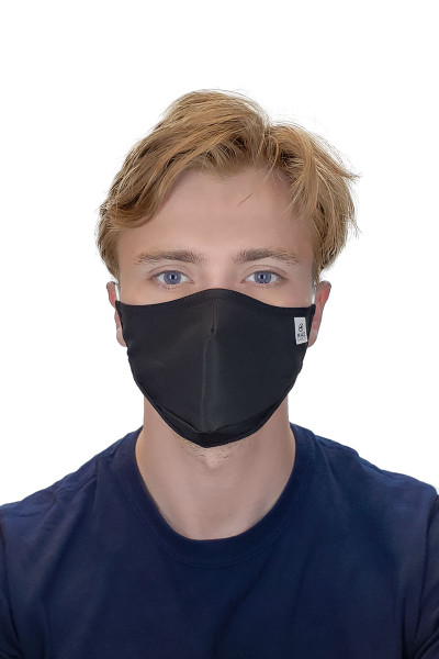 MaleBasics Defender Basic Face Mask 2.0 MASK03-BL Black  - Unisex Protective Face Masks - Front View - Topdrawers Personal Protective Gear for Men