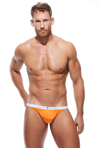 Gregg Homme Push Up 4.0 Thong 180404-OR Orange - Mens Enhancement Thongs - Front View - Topdrawers Underwear for Men