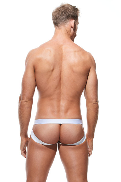 Gregg Homme Push Up 4.0 Jock 180434-WH White - Mens Enhancement Jockstraps - Rear View - Topdrawers Underwear for Men