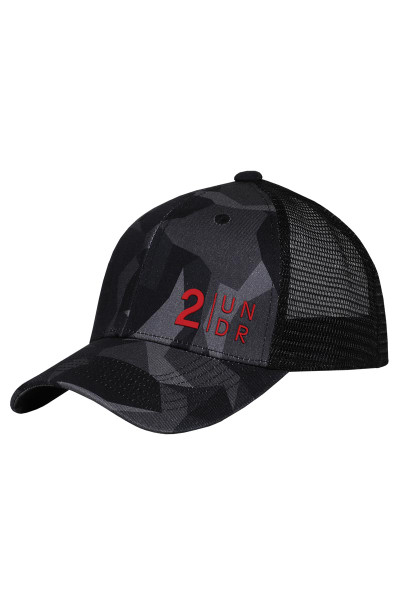 2UNDR Snap Back Mesh Hat Black Camo 2U07PM-148 - Mens Caps - Front View - Topdrawers Clothing for Men