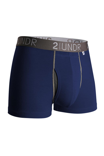2UNDR Swing Shift Trunk Navy Grey 2U01TR-023 - Mens Trunk Boxer Briefs - Front View - Topdrawers Underwear for Men