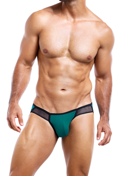 Intymen Brief INJ035-GJBL Green Jade Black  - Mens Briefs - Front View - Topdrawers Underwear for Men