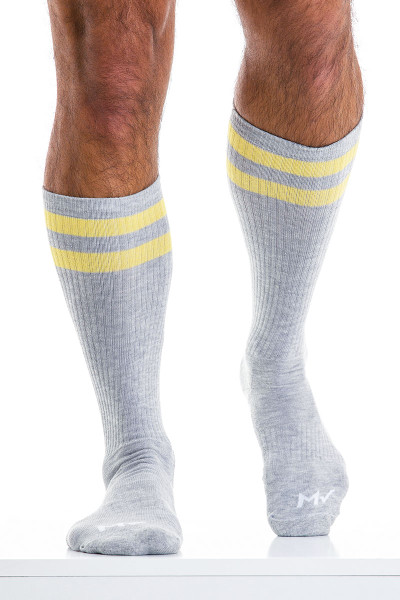 Modus Vivendi Soccer Socks XS2012-GR Grey - Mens Long Socks - Front View - Topdrawers Underwear for Men