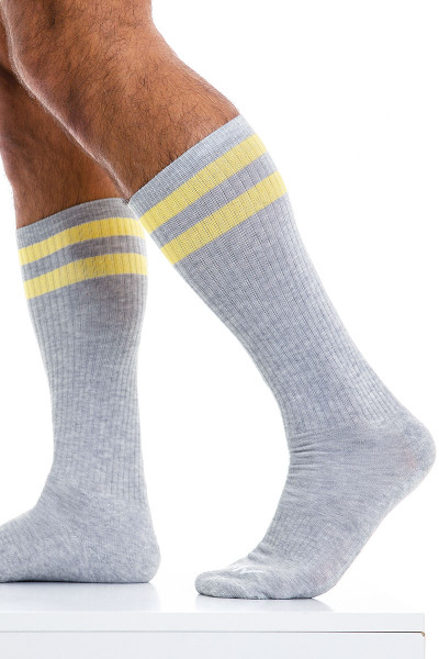 Modus Vivendi Soccer Socks XS2012-GR Grey - Mens Long Socks - Side View - Topdrawers Underwear for Men