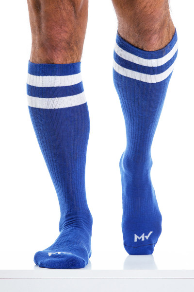 Modus Vivendi Soccer Socks XS2012-BU Blue - Mens Long Socks - Front View - Topdrawers Underwear for Men