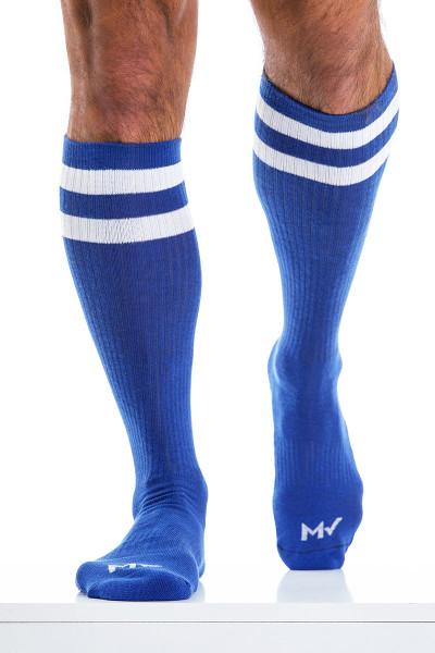 Modus Vivendi Soccer Socks XS2012-BU Blue - Mens Long Socks - Front View - Topdrawers Underwear for Men