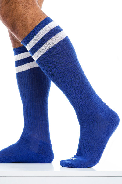 Modus Vivendi Soccer Socks XS2012-BU Blue - Mens Long Socks - Side View - Topdrawers Underwear for Men