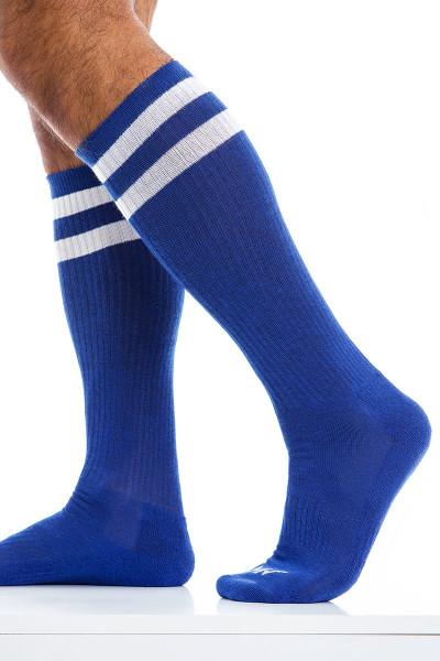 Modus Vivendi Soccer Socks XS2012-BU Blue - Mens Long Socks - Side View - Topdrawers Underwear for Men