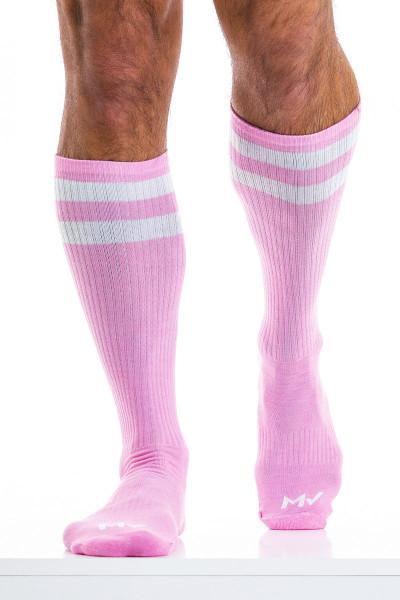 Modus Vivendi Soccer Socks XS2012-PK Pink - Mens Long Socks - Front View - Topdrawers Underwear for Men