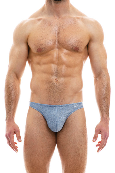 Modus Vivendi Glam Sparkle Low Cut Brief 10012-STBU Steel Blue - Mens Briefs - Front View - Topdrawers Underwear for Men