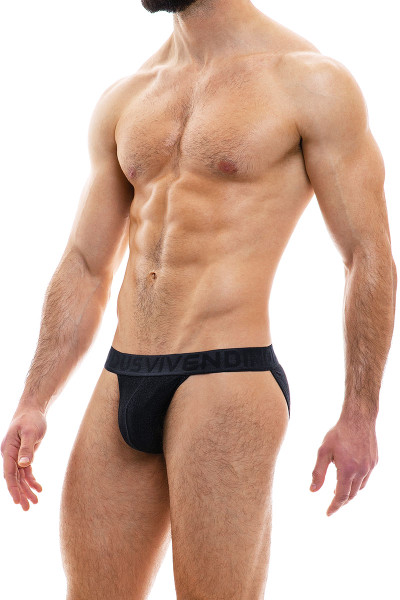 Modus Vivendi Glam Sparkle Tanga Brief 10013-BL Black - Mens Bikini Briefs - Side View - Topdrawers Underwear for Men