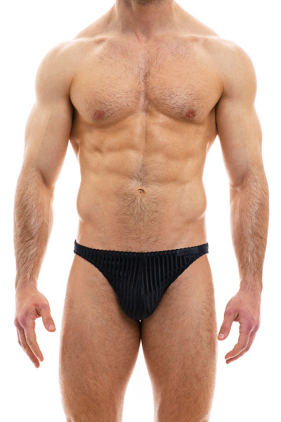 Modus Vivendi Tiffany's Velvet Low Cut Brief 12012-BL Black - Mens Briefs - Front View - Topdrawers Underwear for Men