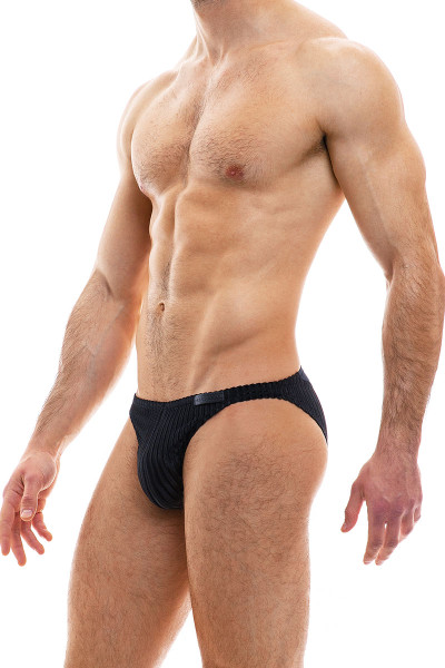 Modus Vivendi Tiffany's Velvet Low Cut Brief 12012-BL Black - Mens Briefs - Side View - Topdrawers Underwear for Men