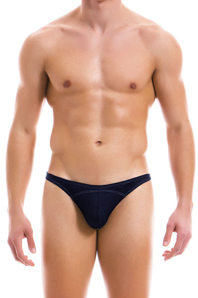 Modus Vivendi Jeans Low Cut Brief 12912-DE Denim - Mens Briefs - Front View - Topdrawers Underwear for Men
