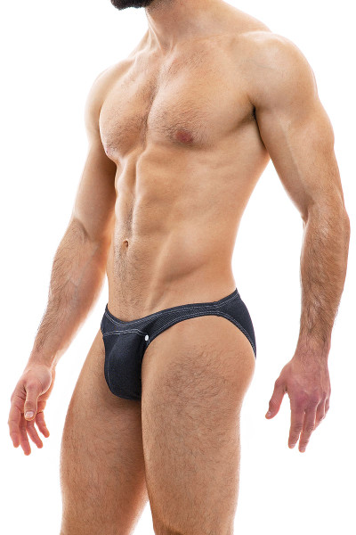 Modus Vivendi Jeans Low Cut Brief 05012-CH Charcoal Grey - Mens Briefs - Side View - Topdrawers Underwear for Men