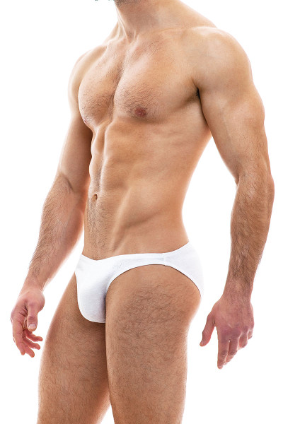 Modus Vivendi Cannabis Low Cut Brief 09013-1-WH White - Mens Briefs - Side View - Topdrawers Underwear for Men