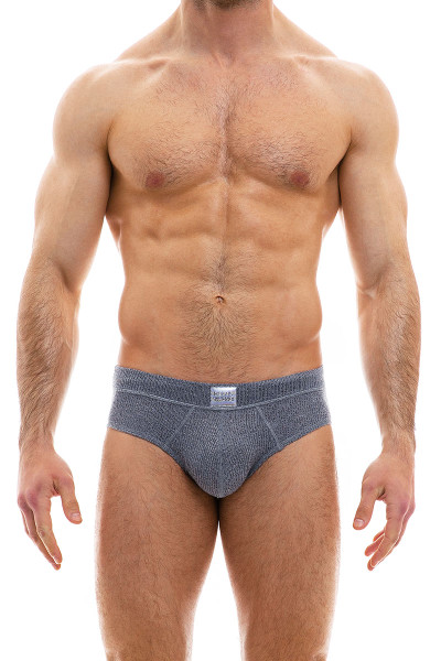 Modus Vivendi Smooth Knit Brief 09015-CH Charcoal Grey - Mens Briefs - Front View - Topdrawers Underwear for Men