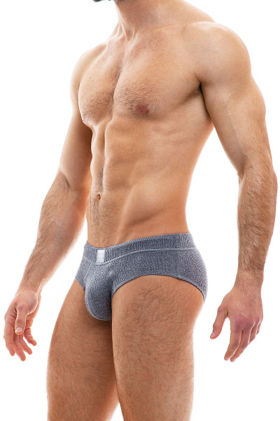 Modus Vivendi Smooth Knit Brief 09015-CH Charcoal Grey - Mens Briefs - Side View - Topdrawers Underwear for Men