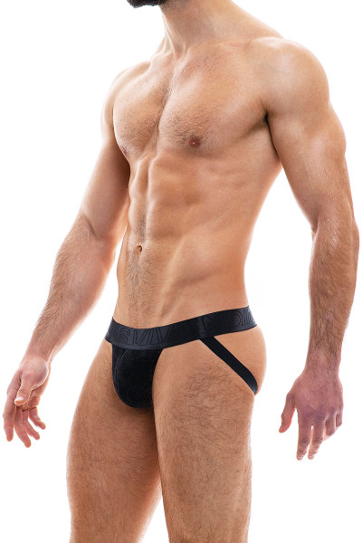 Modus Vivendi Smooth Knit Warmer Jockstrap 09014-BL Black - Mens Jockstraps - Side View - Topdrawers Underwear for Men