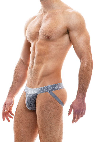 Modus Vivendi Smooth Knit Warmer Jockstrap 09014-CH Charcoal Grey - Mens Jockstraps - Side View - Topdrawers Underwear for Men