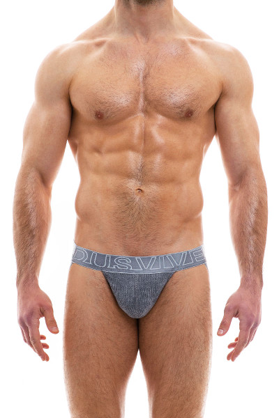 Modus Vivendi Smooth Knit Warmer Jockstrap 09014-CH Charcoal Grey - Mens Jockstraps - Front View - Topdrawers Underwear for Men