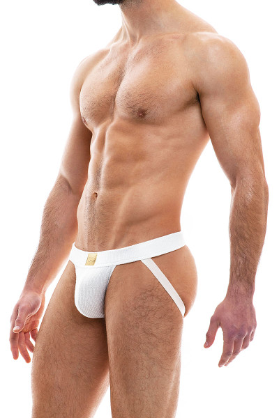 Modus Vivendi Smooth Knit Jockstrap 09011-OFFW Off White - Mens Jockstraps - Side View - Topdrawers Underwear for Men