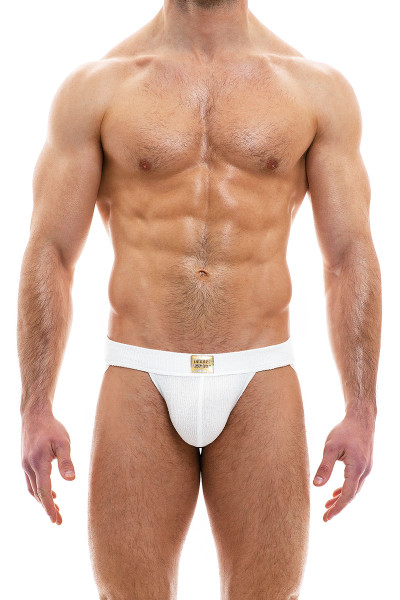 Modus Vivendi Smooth Knit Jockstrap 09011-OFFW Off White - Mens Jockstraps - Front View - Topdrawers Underwear for Men