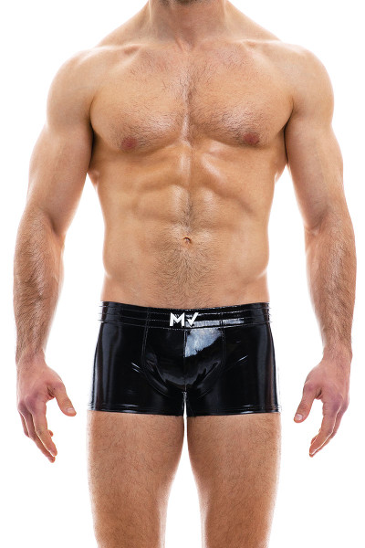 Modus Vivendi Viral Vinyl Boxer 08021-BL Black - Mens Trunk Boxers - Front View - Topdrawers Fetish Underwear for Men