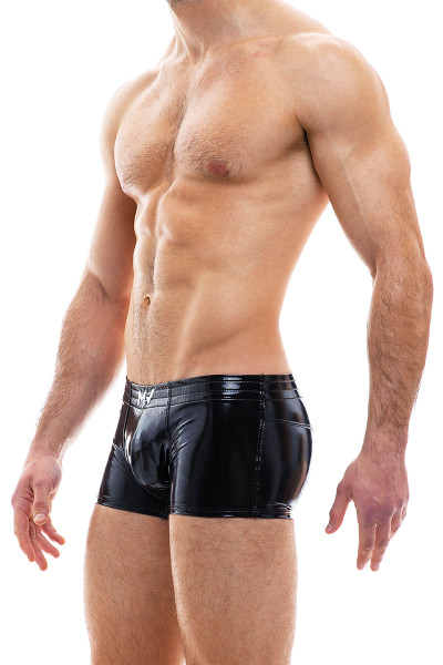 Modus Vivendi Viral Vinyl Boxer 08021-BL Black - Mens Trunk Boxers - Side View - Topdrawers Fetish Underwear for Men