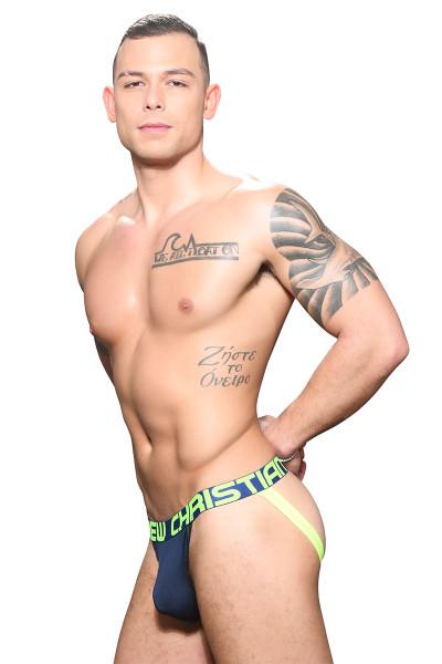 Andrew Christian Almost Naked Bamboo Jock 91698-NV Navy Blue - Mens Jockstraps - Side View - Topdrawers Underwear for Men