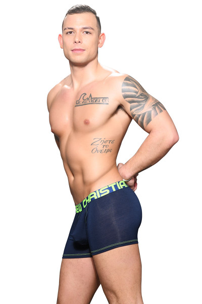 Andrew Christian Almost Naked Bamboo Boxer 91697-NV Navy Blue - Mens Boxer Briefs - Side View - Topdrawers Underwear for Men