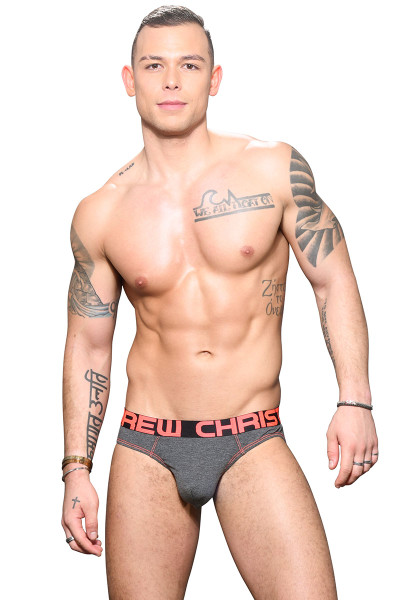 Andrew Christian Almost Naked Bamboo Brief 91696-CH Charcoal Grey - Mens Briefs - Front View - Topdrawers Underwear for Men