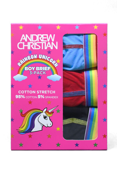 Andrew Christian 3-Pack Unicorn Boy Brief w/ Almost Naked 91702 - Mens Briefs - Box View - Topdrawers Underwear for Men