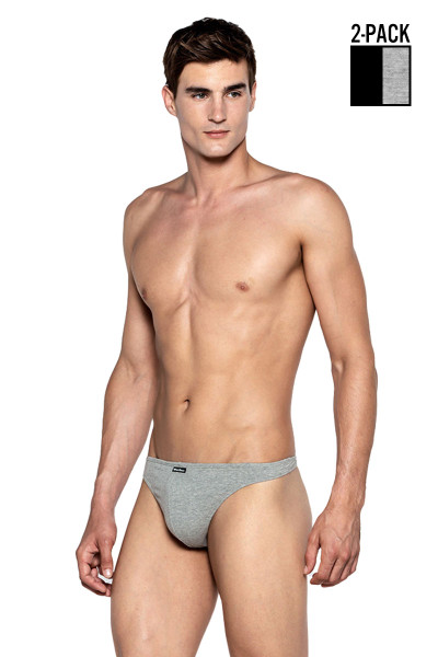Punto Blanco 2-Pack Invisible Thong 5362010-580 Black Heather Grey - Mens Thongs - Front View - Topdrawers Underwear for Men